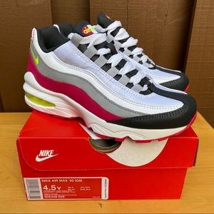 Junior NIKE AIR MAX 95 White Pink Green Size 4.5y